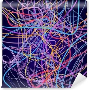 Vinil Duvar Resmi Neon çizgiler, soyut kompozisyon, parlak arka plan, renkli çizgiler arapsaçı, vektör tasarım ve sanat