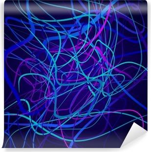 Vinil Duvar Resmi Neon şekiller, soyut kompozisyon, parlak arka plan, renkli şekiller bir arapsaçı, vektör tasarım ve sanat