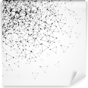Vinil Duvar Resmi Noktalı ızgara ve üçgen hücreleri ile arka plan. vektör çizim