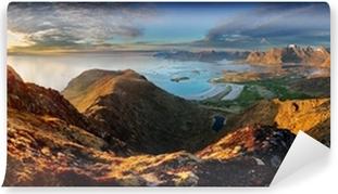 Vinil Duvar Resmi Okyanus ve dağ birlikte Norveç Peyzaj panorama - Lofoten
