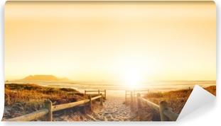Vinil Duvar Resmi Okyanusta gün batımında hdr