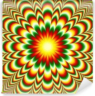 Vinil Duvar Resmi Optik yanılsama etkisi ile canlı çiçek mandala