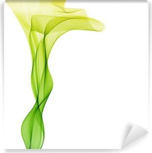 Vinil Duvar Resmi Özet liight yeşil vektör dikey dalga arka plan hatları