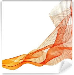 Vinil Duvar Resmi Özet vektör turuncu dalga arka plan çizgileri salladı