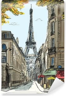 Vinil Duvar Resmi Paris'te Sokak - illüstrasyon