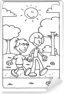 Parkta Bir Oğlan Ve Bir Kız Yürüyüş Boyama çerçeveli Poster Pixers