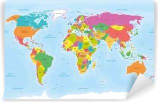Vinil Duvar Resmi Planisphère Mappemonde. Français vectorisés tr Textes