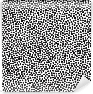 Vinil Duvar Resmi Puantiyeli arka plan, dikişsiz desen. Siyah ve beyaz. Vektör çizim 10 EPS