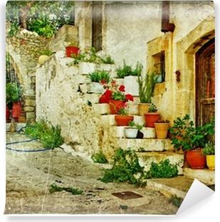 Vinil Duvar Resmi Resimsel Yunan köy (Lutra) - retro tarzı sanat