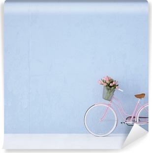 Vinil Duvar Resmi Retro eski bisiklet eski ve mavi duvar. 3d render