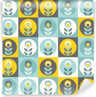 Vinil Duvar Resmi Retro floral pattern, geometrik kesintisiz çiçekler