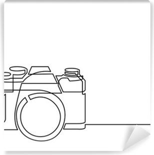Vinil Duvar Resmi Retro fotoğraf makinesinin sürekli hat çizimi