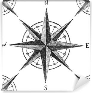 Vinil Duvar Resmi Rüzgâr gülü ile sorunsuz desen