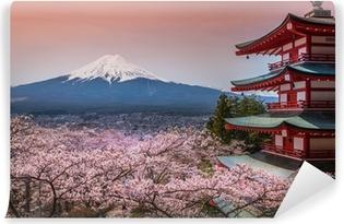 Vinil Duvar Resmi Sakura ile Chureito Pagoda