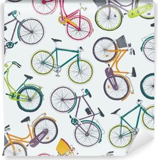 Vinil Duvar Resmi Şehir bisikletleri ile elle çizilmiş vektör seamless pattern