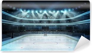 Vinil Duvar Resmi Seyirci ile hokey stadyum ve boş bir buz pateni pisti