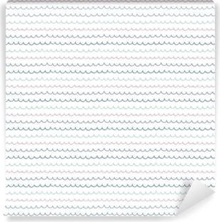 Vinil Duvar Resmi Şirin el beyaz bir arka plan üzerinde okyanus dalgaları ile sorunsuz vektör desen çekilmiş. İskandinav tasarım stili. Yaz, plaj, çocuklar tekstil baskı, duvar kağıdı, ambalaj kağıdı için kavram.