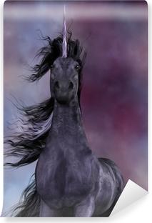 Vinil Duvar Resmi Siyah Unicorn