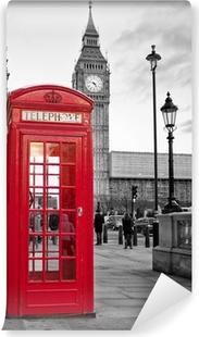Vinil Duvar Resmi Siyah ve beyaz Big Ben ile Londra'da kırmızı telefon kulübesi