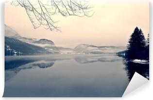 Vinil Duvar Resmi Siyah ve beyaz gölde karlı kış manzara. Siyah-beyaz görüntü yumuşak odak, kırmızı filtre ve bazı gürültü ile Retro vintage tarzı süzülür; kış nostaljik bir kavram. Lake Bohinj, Slovenya.