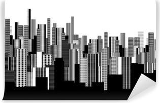 Vinil Duvar Resmi Siyah ve beyaz iki renk grafik soyut kentsel peyzaj duvar kağıdı