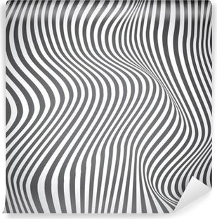 Vinil Duvar Resmi Siyah ve beyaz kavisli çizgiler, yüzey dalgaları, vektör tasarımı