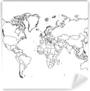 Vinil Duvar Resmi Siyasi Dünya Haritası vektör İllüstrasyon.