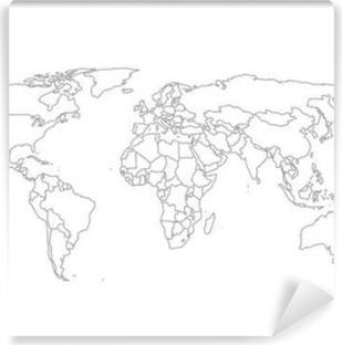 Vinil Duvar Resmi Siyasi Dünya Haritası