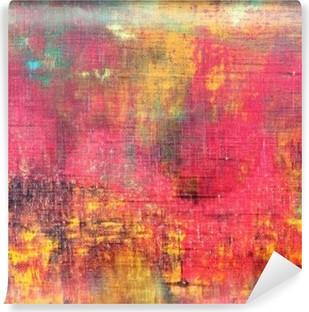 Vinil Duvar Resmi Soyut renkli el boyalı tuval doku arka plan