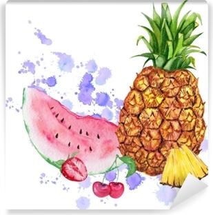 Sulu Boya Meyve Karışımı Ananas Karpuz Ve Meyveler Kağıt üzerinde