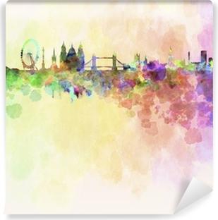 Vinil Duvar Resmi Suluboya arka planda Londra silueti