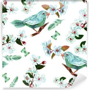 Vinil Duvar Resmi Suluboya kuş, çiçek, tüy ve kelebekler ile sorunsuz arka plan deseni
