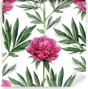Vinil Duvar Resmi Suluboya şakayık çiçekleri illüstrasyon. Seamless pattern