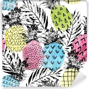 Vinil Duvar Resmi Suluboya ve grunge dokular sorunsuz desen ile renkli ananas