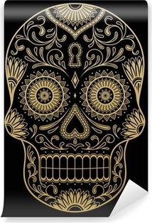 Vinil Duvar Resmi Süslü Bir Renk Şeker Kafatası