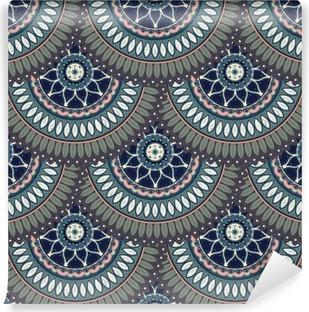 Vinil Duvar Resmi Süslü çiçek sorunsuz doku, bağ bozumu mandala elemanları ile sonsuz desen.