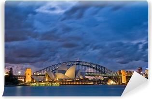Vinil Duvar Resmi Sydney Harbour Alacakaranlık