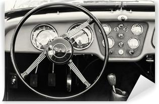 Vinil Duvar Resmi Tarihi eski arabada direksiyon simidi ve gösterge paneli