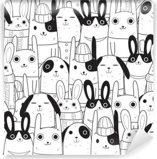 Vinil Duvar Resmi Tavşan sorunsuz desen
