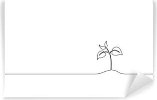 Vinil Duvar Resmi Tek sürekli çizgi sanat büyüyen filiz. bitki yaprakları tohum büyümek toprak fide eko doğal çiftlik konsept tasarımı tasarım kroki taslak vektör çizim