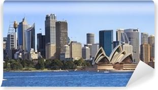Vinil Duvar Resmi Tekne panorama itibaren Sydney CBD Günü