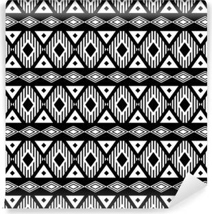 Vinil Duvar Resmi Trendy sorunsuz siyah ve beyaz desen. etnik, modern bohem tarzı, geometrik. giysi, sarma, arka plan için moda desen. Vektör.