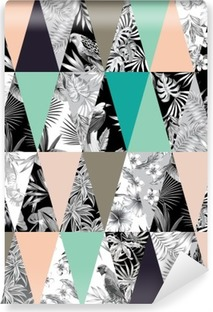 Vinil Duvar Resmi Tropikal patchwork seamless background