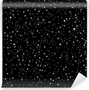 Vinil Duvar Resmi Uzay arka plan, gece gökyüzü ve yıldızlar, siyah ve beyaz sorunsuz vektör desen