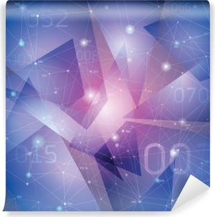 Vinil Duvar Resmi Uzay arka plan, geometri yüzeyleri, çizgiler ve noktalar,