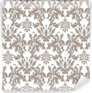 Vinil Duvar Resmi Vektör Barok Vintage çiçek Damask desen. Lüks Klasik süsleme, duvar kağıtları, tekstil, kumaş Royal Victorian doku. kahverengi renk