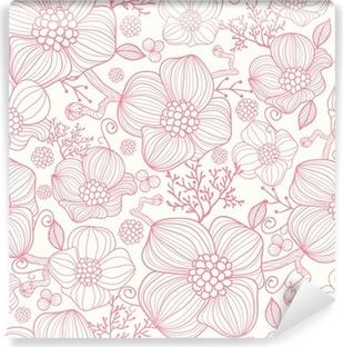 Vinil Duvar Resmi Vektör kırmızı çizgi sanat çiçekleri zarif seamless pattern arka plan