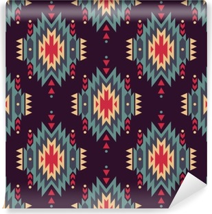 Vinil Duvar Resmi Vektör sorunsuz dekoratif etnik desen. Amerikan Hint motifleri. Aztek aşiret takı ile Arkaplan.