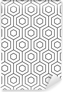 Vinil Duvar Resmi Vektör sorunsuz desen. Modern şık doku. Geometrik model tek renkli. altıgen çinilerle ızgara.