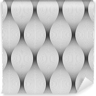 Vinil Duvar Resmi Vektör sorunsuz doku. Modern geometrik arka plan. Oluklu ince filamentler tekrarlanan model monokrom.